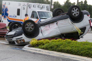 Photo of an SUV Rolled Over After and Accident