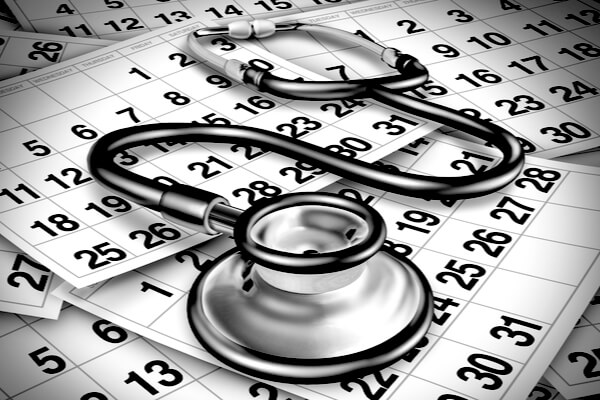 stethoscope on calendars depicting delayed diagnosis